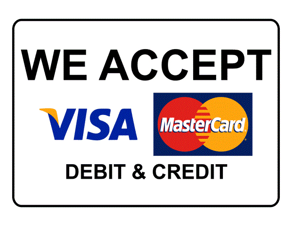 We accept Debit and Credit Cards